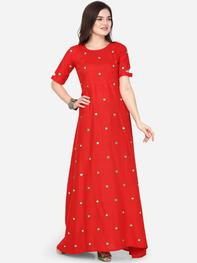 Women Red Embroidered A-Line Kurta