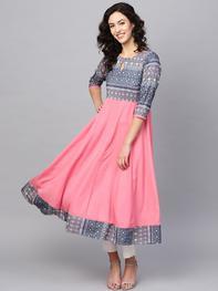 Azira - Women Pink & Blue Printed Anarkali Kurta