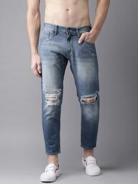 Here n Now - Men Ankle Length Mid-Rise Slim Tapered Fit Blue Slash Knee Jeans