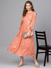 Women Peach-Coloured Printed Midi A-Line Dress