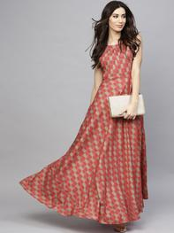 Women Red Printed Maxi Dress