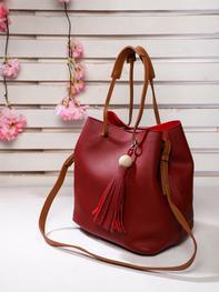 Red Textured Bucket Bag