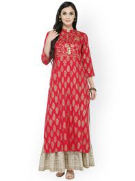 Women Red & Gold-Toned Printed Straight Kurta