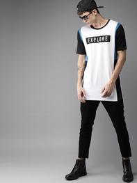 Men White & Blue Printed Round Neck T-shirt