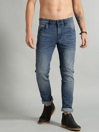 Men Blue Skinny Fit Mid-Rise Clean Look Stretchable Jeans