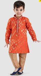 JBN Creation Design Printed Full Sleeves Sherwani & Churidar Set - Orange