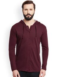 Men Maroon Solid Hooded T-shirt