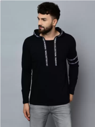 Kay Dee - Typography Men Hooded Neck Black T-Shirt