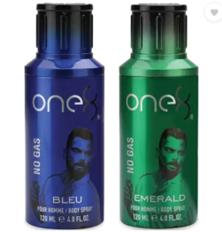One8 By Virat Kohli No Gas Set Of 2 Deos( Emerald+ Bleu) Perfume Body Spray