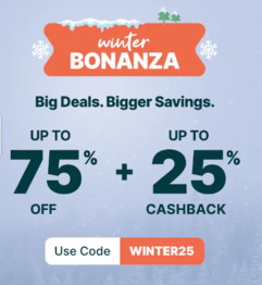 Winter Bonanza - Up To 75% OFF + Up To 25% Cashback