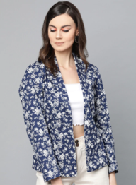 Popnetic - Women Navy Blue & White Printed Single Breasted Casual Blazer