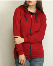 BELLE FILLE Zip -Front Hoodie with Pockets