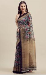 Florence - Grey & Gold-Toned Art Silk Printed Saree