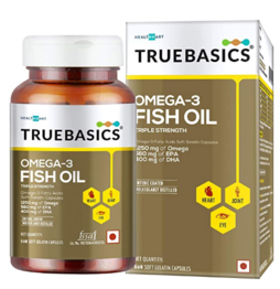 TrueBasics Omega-3 Fish Oil Triple Strength with 1250mg of Omegafor Healthy Heart, Eye & Joints - 60 Softgels