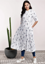 Sangria Women White & Grey Printed A-Line Kurta