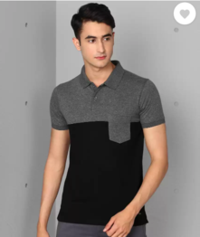 Metronaut Color Block Men Polo Neck Black, Grey T-Shirt