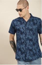 Moda Rapido - Men Navy Blue Slim Fit Printed Casual Shirt