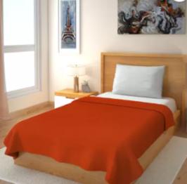 Solid Single Fleece Blanket (Polyester, Orange)