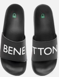 United Colors of Benetton Men Black & White Sliders