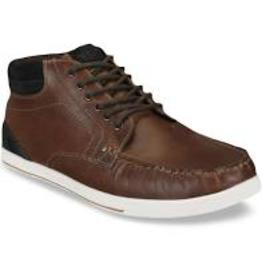 Men Brown Solid Leather Mid-Top Sneakers