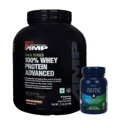 GNC Amp Gold Series 100% Whey Protein Advanced 4.4 lb Double Rich Chocolate + GNC Triple Strength Fish Oil 60 softgels Combo