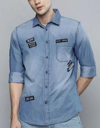 Slim Fit Denim Shirt with Patch Pocket