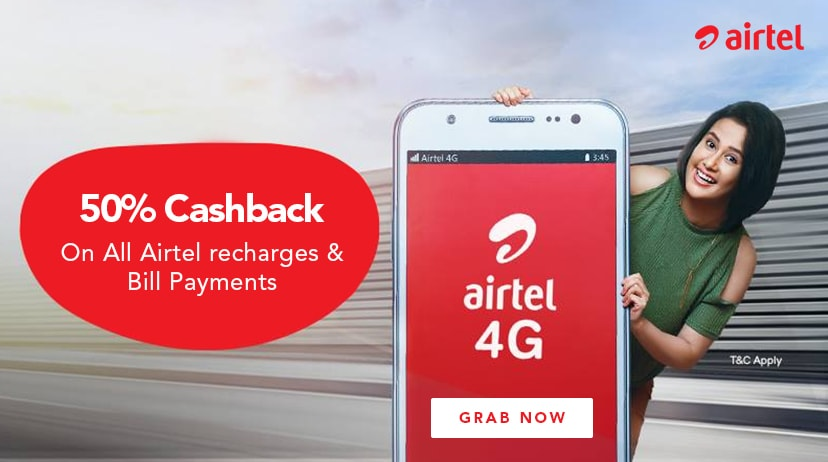 Airtel Recharge Coupons, Offers → 50% Cashback Promo Codes